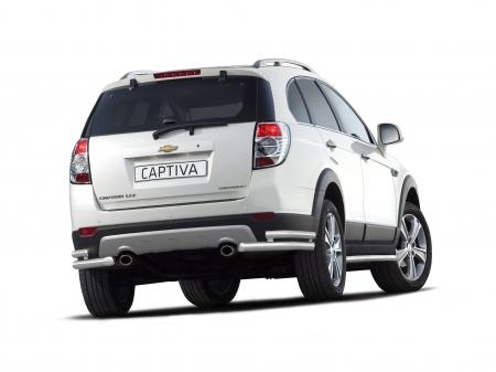 Защита заднего бампера двойная угловая d51/63мм Chevrolet Captiva (нерж) 2012